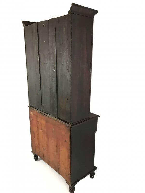 Back view of rosewood bookcase