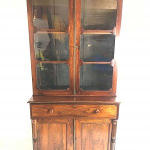 antique glazed rosewood bookcase